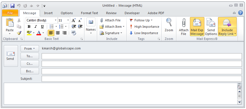 Sending Files with the Mail Express Outlook Add-In